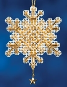 Mill Hill Gold Crystal Christmas beaded Ornament counted cross stitch kit