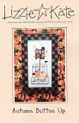 Lizzie Kate Autumn Button Up counted cross stitch pattern and button