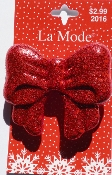 La Mode Buttons - Red Glitter Bow - Christmas Button