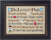 Lizzie Kate Dog Lessons for people counted cross stitch pattern chart