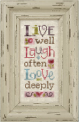 Lizzie Kate Snippet S97 - Live, Laugh, Love counted cross stitch pattern