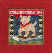 Mill Hill Spring Series - Puppy Paws - beaded counted cross stitch kit
