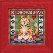 Mill Hill spring series Kitty Paws beaded counted cross stitch kit