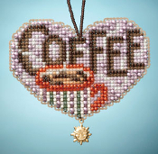 Mill Hill Charmed Ornaments, Love Coffee - beaded counted cross stitch kit