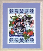 Design Works Crafts Counted Cross Stitch Picture kit - Strawberry Kittens