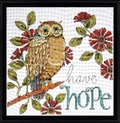 Design Works Hope Owl counted cross stitch picture kit