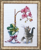 Design Works, Orchid Kitty Counted Cross Stitch Picture Kit