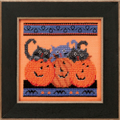 Mill Hill Halloween counted cross stitch kit, Jacks and Cats Debbie Mumm