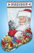 Design Works Santa and Kitten Christmas counted cross stitch stocking kit