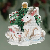 Mill Hill Winter Holiday Winter Bunnies MH18-3303 Christmas Ornament counted cross stitch kit with treasure - A pair of bunnies sitting in front of a Christmas tree