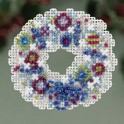 Mill Hill Winter Holiday Crystal Wreath MH18-3301 Christmas Ornament counted cross stitch kit with treasures