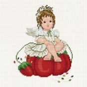 Ellen Maurer-Stroh Stitching Angel with Pincushion Counted Cross Stitch pattern - A pretty baby angel sitting on a pincushion