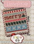 Lizzie Kate Jingles Flip-It Merry counted cross stitch pattern with embellishment