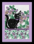 Design Works Lilac Floral Cat counted cross stitch picture kit