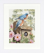 Lanarte Garden Blue Birds counted cross stitch kit