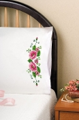 Tobin Home Crafts Pink Wild Rose pillowcases stamped for embroidery