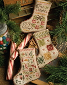 Lizzie Kate Flora McSamples 2013 Stockings Christmas Counted Cross Stitch chart with embellishments