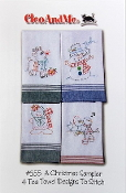 CleoAndMe Christmas hand embroidery kitchen tea towel patterns to stitch