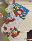 Bucilla Felt Applique Christmas Stocking, Fun In The Snow - embroidery kit