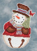 Mill Hill Debbie Mumm Snowbells - Set of five Snowmen Christmas Ornament beaded counted cross stitch kits