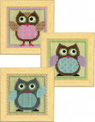 Funny Owls trio - Vervaco counted cross stitch kit