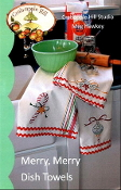 Crabapple Hill Merry, Merry Dish Towels Christmas Embroidery patterns