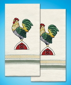 Tobin Home Crafts - Rooster Kitchen Towels stamped for embroidery