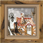 Riolis - City and Cats Winter - counted cross stitch picture kit