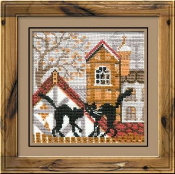 Riolis - City and Cats Autumn - counted cross stitch picture kit
