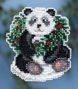 Mill Hill Winter Holiday collection Holiday Panda MH18-4304 Christmas Ornament counted cross stitch kit with treasures