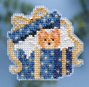 Mill Hill Winter Holiday collection Cat in the Box MH18-4302 Christmas Ornament counted cross stitch kit with treasure