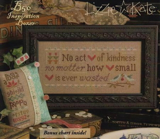 Lizzie Kate Boxer - No Act of Kindness counted cross stitch pattern, linen and button