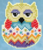 Mill Hill Owlets charmed ornaments - Kiwi Owl Easter beaded counted cross stitch ornament kit