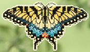 Mill Hill Spring Bouquet collection Yellow Swallowtail Butterfly counted cross stitch ornament kit