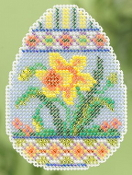 Mill Hill Spring Collection - Daffodil Egg - beaded counted cross stitch ornament kit