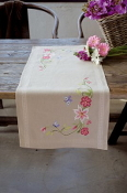 Vervaco - Pink Flowers and Butterflies Table Runner stamped for cross stitch kit with threads