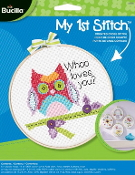 Bucilla Counted cross stitch beginners kit - Whoo Loves You Owl