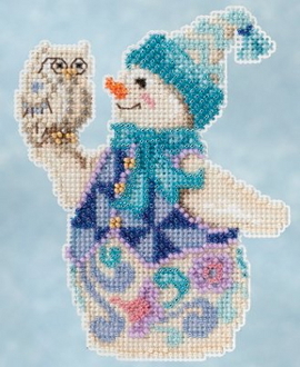 Jim Shore by Mill Hill - Snowy Owl Snowman JS20-5103 Christmas Ornament beaded counted cross stitch kit