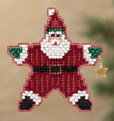 Mill Hill Winter Holiday collection Star Santa MH18-1301 Christmas Ornament counted cross stitch kit with treasure