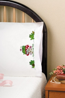 Design Works Crafts Tobin Toadly in Love pillowcases stamped for embroidery