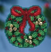 Mill Hill Winter Holiday collection Jingle Bell Wreath MH18-1632 Christmas Ornament counted cross stitch kit
