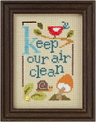 Lizzie Kate Green Flip-It, Keep Our Air Clean Counted cross stitch pattern chart with button