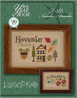 Lizzie Kate Double Flip, November December Yearbook Series Counted cross stitch pattern chart with charms