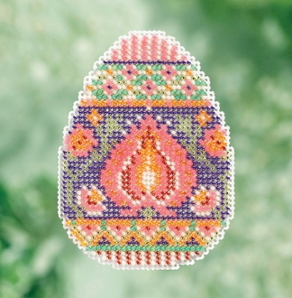 Mill Hill Spring Bouquet Collection Lotus Egg Easter beaded counted cross stitch ornament kit