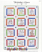 Yesterday's Charm Alphabet Blocks iron-on embroidery transfers Quilt pattern