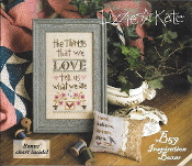 Lizzie Kate Boxer - The Things That We Love counted cross stitch pattern, linen and beads