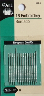Dritz Size 8 Embroidery Needles - 16 per package