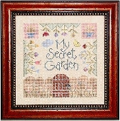 Lizzie Kate My Secret Garden Counted Cross Stitch Pattern with embellishments