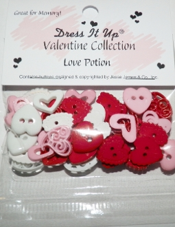 Dress It Up Craft Buttons, Love Potion, Valentine Collection