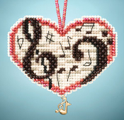Mill Hill Charmed Ornaments - Love Notes beaded counted cross stitch kit
